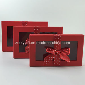 Custom DOT Printed Ribbon Decorated Paper Gift Box with Clear Window pictures & photos