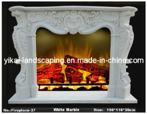 Stone Marble Fireplace with Carved Flower for Indoor Decoration (YKFFP-07)