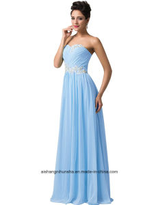 Women Chiffon Beading Sleeveless Evening Party Prom Dress pictures & photos
