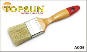 White Bristle Red Tail Varnished Paint Brush with Wooden Handle
