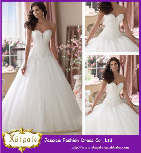 Good Quality! 2014 New Arrival A Line Belt Lace Sweetheart White Tulle and Organza Wedding Dresses