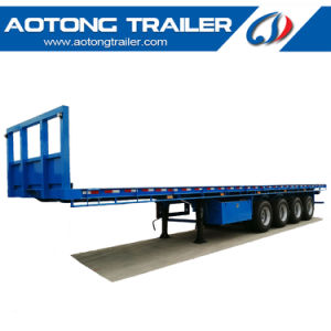 45FT 4 Axle Flatbed Semi Trailer with Front Board pictures & photos