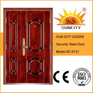 Sc-S151 Good Design Double Leaf Security Steel Doors pictures & photos