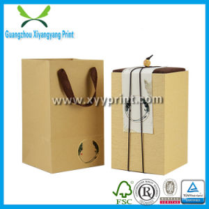 Custom Kraft Paper Tea Packaging Gift Box with Handle pictures & photos
