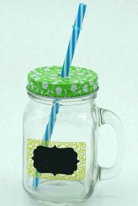 Chalkboard Handle Strew Mason Jar Glass Bottle Drinkware pictures & photos