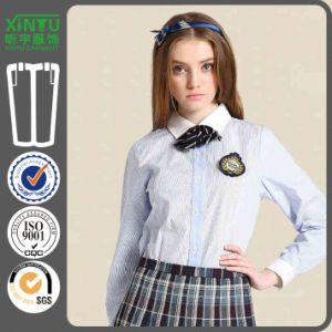 2016 School Uniform Long Sleeves Girl Pure White Zinc Shirt pictures & photos