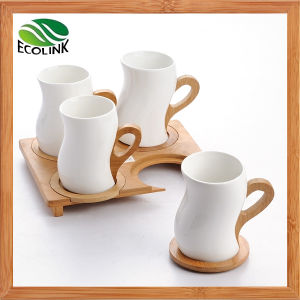 Bamboo Handle Ceramic Coffee Cup Set pictures & photos