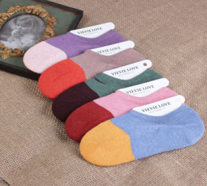 Spring Summer New Style Heavy Thread Non-Slip Silicone Boat Cotton Women′s Socks