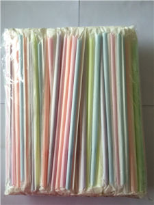 Colors Flexible Plastic Drinking Straw Paper Wrapped pictures & photos