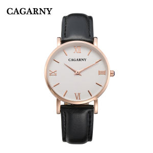 Cagarny Leather Watch with IP Gold Plated 4roman Letters on Dial pictures & photos
