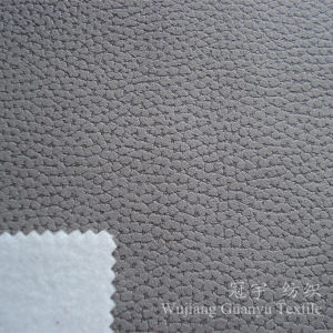 Chammy Suede Leather 100% Polyester Embossed Fabric for Sofa pictures & photos