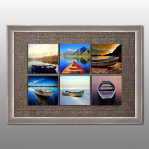 Popular Multi Boat Wall Art Floating Glass Framed Painting