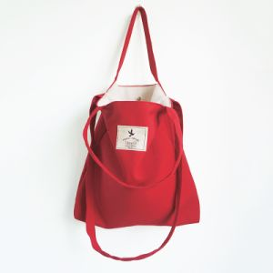 100% Cotton Red Shopping Tote Bag with Long Handle