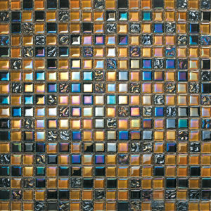 Orange Rainbow Iridescent Wall Crystal Glass Mosaic