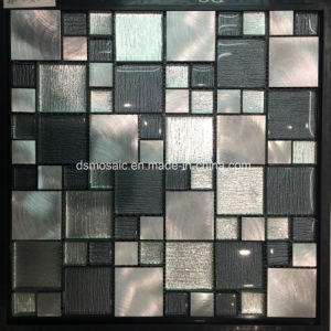 Classicail Black Laminated Glass and Stainless Steel Mosaic Tile pictures & photos