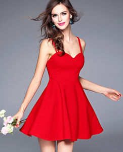 Factory Hot Sale Sexy Backless Slim Tube Plain Short Lady′s Dress pictures & photos