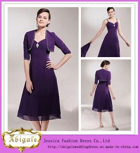 Sequins a-Line Chiffon Tea Length Mother of The Bride Jacket Dress (MI 3529)