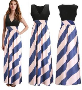 Wholesale Women Ice Silk V-Neck Printed Maxi Dress pictures & photos