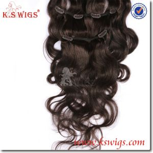 Brazilian Virgin Clip Hair Remy Human Hair Extension pictures & photos