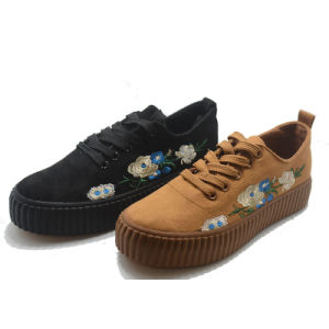 Hot Inwrought Flower Women School Vulcanization Elevator Shoes pictures & photos