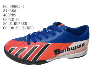 Three Color PU Children Soccer Shoes pictures & photos