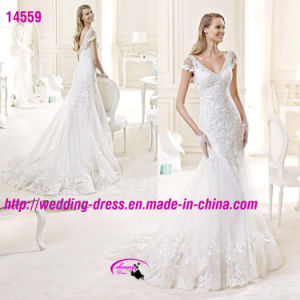 Stunning Lace Elaborate Mermaid Dress Wedding with Cap Sleeve pictures & photos