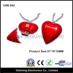 Heart Shape USB Flash Drive with Necklace (USB-042)