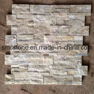 18*35cm Hot Sale China Yellow White Quartzite Stone Wall Cladding pictures & photos
