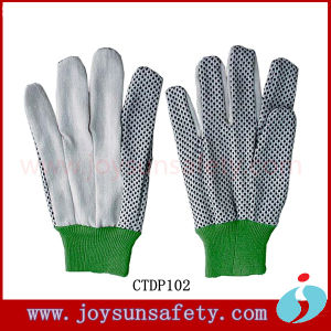 Safety Working White Canvas Protective Hand Cotton Dotted Gloves (CTDP)