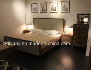American Style Modern Leather Wooden Double Bed (A-B38) pictures & photos