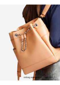 Pure Color Rope Double Shoulder Women Bag Backpack pictures & photos