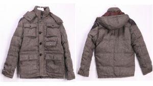 Men′s Wool Duck Down Hooded Parka (W10)