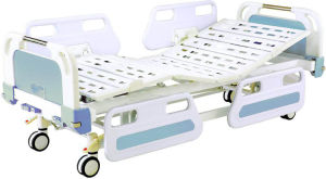 Medical Movable Full-Fowler Central Locking Hospital Bed with ABS Headboards pictures & photos