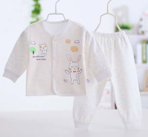 100% Cotton Autumn Long Sleeve Pants Two Sets Baby Underwear Set pictures & photos