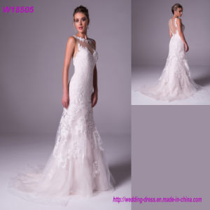 High Collar White Sexy Long Women See Through 2017 Mermaid Wedding Dresses pictures & photos