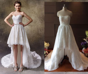 Irregular Wedding Dress with Front Short Long Back pictures & photos