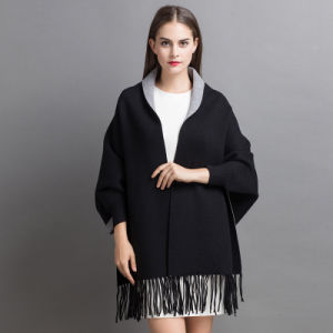 Women Fashion Cashmere Knitted Winter Fringed Shawl Overcoat (YKY2022) pictures & photos