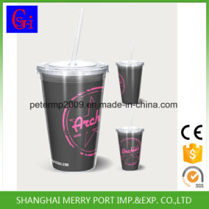 400ml Double Wall Plastic Cup with Straw Insert Ice Cup pictures & photos
