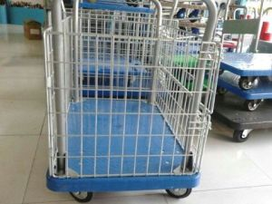300kg Mesh Plastic Trolley Material Turnover Cart pictures & photos