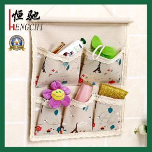 Linen/Cotton Fabric 5 Pockets Hanging Storage Bag Organizer pictures & photos