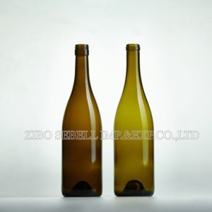 0.75 Liter Antique Green Burgundy Wine Bottle with Bvs Top (NA-038) pictures & photos