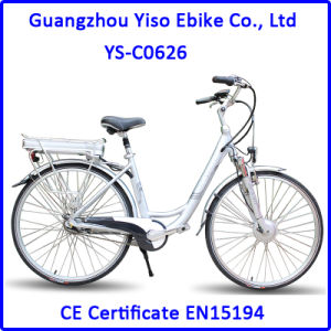 250W Brushless Motor 26 Inch City Lithium Electric Bike with Rack Battery pictures & photos