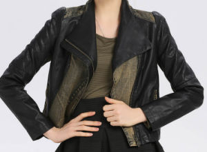 Cultivate One′s Morality Fake Leather Shorts Jacket Puj0703 pictures & photos