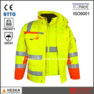 En20471 En343 3: 3 High Visibility 3 in 1 Parka Safety Reflector Jacket pictures & photos