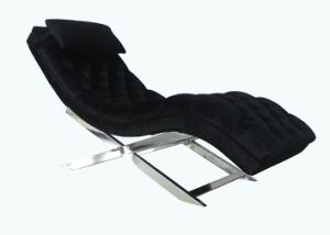 Stainless Steel Base with Black Velvet Fabric Uphostry Chaise Lounge pictures & photos