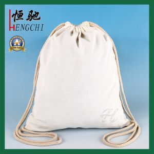 Fashion Cotton Canvas Drawstring Backpack for School Student pictures & photos