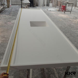 China Custom White Solid Surface Stone Bath Vanity Top pictures & photos
