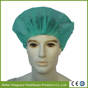 Disposable Non-Woven Green Bouffant Cap for Hospital pictures & photos