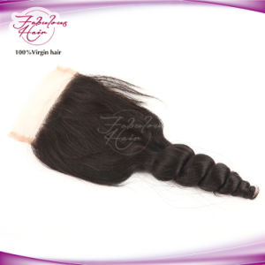 Good Quality Top Loose Wave Mongolian Lace Closures Pieces pictures & photos