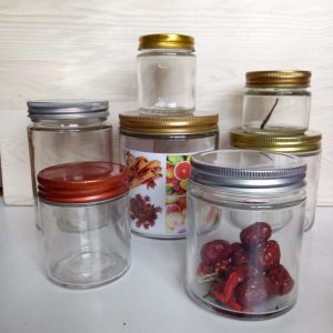 FDA 4oz 6oz 10oz 16oz 22oz Wide Mouth Straight Side Glass Food Jar with Metal Screw Lid pictures & photos